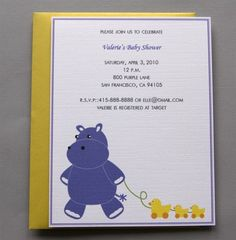 Purple Hippo A2 Flat Note Baby Shower Invitations by RatDogInk, $17.00
