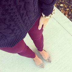 Black chunky sweater. Burgundy skinnies. Animal print flats.