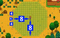 A Scarecrow is a craftable item that prevents crows from eating crops. Scarecrows can be crafted at Farming level Scarecrows are not needed to protect crops grown from Wild Seeds, since crows do not attack them. Stardew Farms, Stardew Valley Farms, Stardew Valley Layout, Stardew Valley Tips, Stardew Valley Fanart, Farm Layout, Anime Merchandise, Animal Crossing, Nerdy