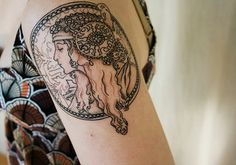 Alphonse mucha tattoo.....wow that is a lot of detail, lots of patience!!!