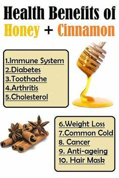 Health benefits of honey and cinnamon.