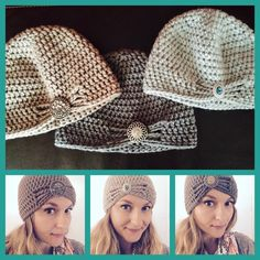 Flapper inspired women's crocheted hats with button detail. Love these!