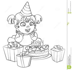 Little Girl Having Fun Celebrating Her Birthday. Coloring Book Stock Photo - Image: 36281680