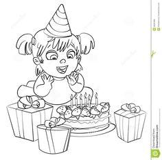 Little Girl Having Fun Celebrating Her Birthday. Coloring Book Stock Photo - Image: 36281680