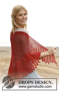 "Knitted DROPS shawl with lace pattern in ""Lace"". ~ DROPS Design"