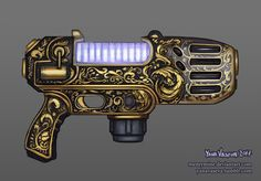 I needed a custom design for a plasma pistol from Warhammer 40k, so I made one. A really fancy one.