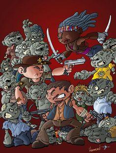 Michonne, Daryl and Rick - The Walking Dead Walking Dead Funny, The Walking Dead, Daryl And Rick, Art Of Dan, Dead Zombie, Cartoon Styles, Bowser, Comic Art, Fan Art