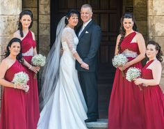 Stunning red and white Bride & Maids by Total Brides hair & makeup
