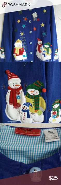 NWT- ONQUE CASUALS - NOT UGLY CHRISTMAS SWEATER NWT - Long sleeved Christmas sweater featuring Snowmen, button down with snowman buttons and Christmas Stars.  Cotton/Poly -Size Small Onque Casuals Sweaters Cardigans
