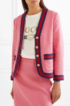 Gucci - Faux Pearl-embellished Cotton-blend Tweed Jacket - Pink