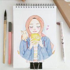 Anime islámico y hijab - Anime islámico y hijab Imágenes efectivas que le proporcionamos sobre healthy snacks Una imagen de - Girly Drawings, Colorful Drawings, Cartoon Kunst, Cartoon Art, Couple Goals Tumblr, Hijab Drawing, Islamic Cartoon, Anime Muslim, Hijab Cartoon