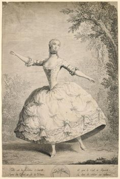1740s French Ballet Print | Depicts Anne (or possibly Janneton) Auretti | NY digital gallery