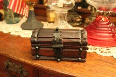 Treasure Chest Small Wooden Box with Wrought Iron by MadGirlRetro