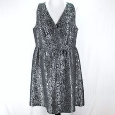 Lane Bryant Dress Sz 16 Silver Gray Black Floral Sleeveless V Neck  #LaneBryant #Holiday