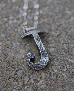 Custom Fingerprint Initial Necklace