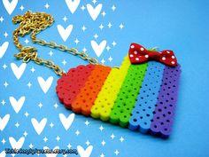 Rainbow Love Heart perler bead necklace with polka dot bow kawaii. $9.00, via Etsy.