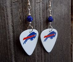 White Buffalo Bills Guitar Picks with Blue Pave Beads by ItsYourPickToo on Etsy