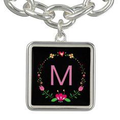 Custom Floral Wreath on Black Charm Bracelet - accessories accessory gift idea stylish unique custom