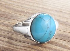 925K Sterling Silver Mens Ring Blue Natural Turquoise (All Sizes Available) $44.00