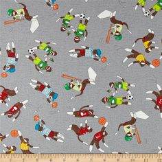 Moda Monkey Tales Sports Nuts Grey from @fabricdotcom  Designed by Erin Michael for Moda, this cotton print is perfect for quilting, apparel and home decor accents.  Colors include grey, white, black, brown, green, red, orange, yellow and blue.