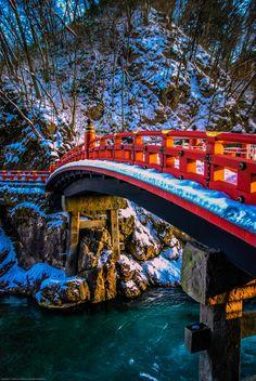 Nikko Sacred Bridge at Sunset | winter, Japan | by Julien de Salaberry~~