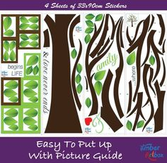 Wall Decal Mural Family Tree Sticker DIY Art Removable Vinyl Home - How to put up a tree wall decal