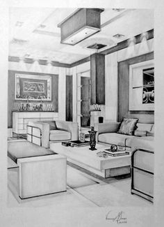 Interior Design Living Room by vanessamsoares study Croquis Architecture, Interior Architecture Drawing, Interior Design Renderings, Architecture Concept Drawings, Drawing Interior, Interior Rendering, Interior Sketch, Interior Design Tips, Simple Interior