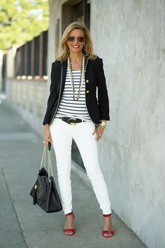 48 Charming White Pants Ideas is part of High fashion Heels Clothes - Tan Shoes If you'd like to get really fancy then tan shoes are perfect choice for you The ideal combination […] Casual Mode, Business Casual Outfits, Casual Chic, Fashion Over 50, Look Fashion, Autumn Fashion, Spring Fashion, Nautical Outfits, Nautical Fashion