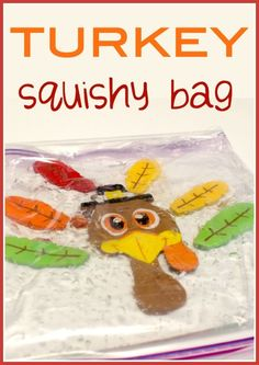 This make a turkey sqishy bag sensory activity for toddlers and preschoolers takes less than five minutes to make, but provides lots of fine-motor practice for your little one! Pinned by The Sensory Spectrum pinterest.com/sensoryspectrum