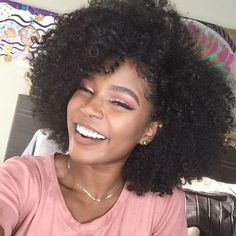 See this Instagram photo by /nymcfly/ • Afro hair. Curly hair. Natural hair. Kinky curly hair. Smile. Frizzy curls. Curly frizz.