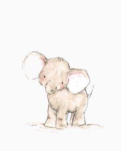 A funny baby elephant with a pretty little face, this little chap brightens up any corner of baby's nursery. - art print from an original watercolor, gouache, and acrylic painting by Kit Chase. - arch