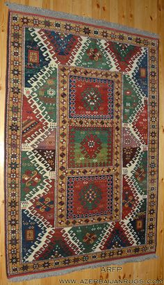 Bordjalou rug with hooked archaic motifs