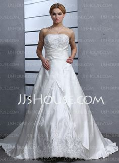 Wedding Dresses - $163.19 - A-Line/Princess Strapless Court Train Satin Wedding Dresses With Ruffle Lace Beadwork (002012871) http://jjshouse.com/A-Line-Princess-Strapless-Court-Train-Satin-Wedding-Dresses-With-Ruffle-Lace-Beadwork-002012871-g12871