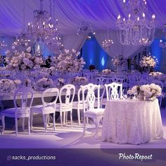 "I am so intrigued by tis beautiful wedding By @sacks_productions #weddingideas #weddinginspiration @gotlightsf #beautifulweddings #popofpurple #chandeliers"""