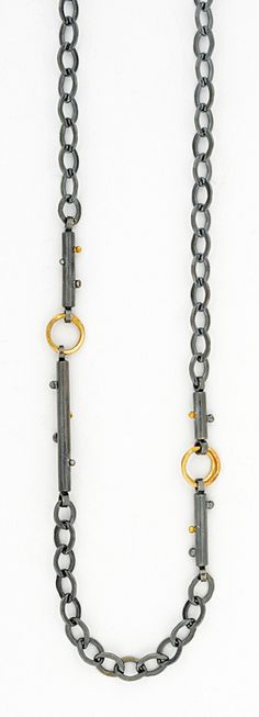 NK131 Vega chain necklace in oxidized silver and 18k gold.  | Sydney Lynch