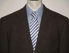 Men's Pendleton Brown Plaid Sport Coat Blazer 100% Wool 44R 2 Button Jacket #Pendleton
