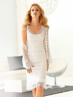 Kleid Frau weißer Schnee und die passenden Schal, stricken, häkeln Handarbeit