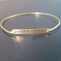 Name Bangle Bracelet, Thin, Gold Name Bracelet, Custom Bracelet, Personalized Name Jewelry, Stamped Name Tag Bracelet, Custom Made Jewelry