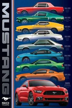 The Ford Mustang design evolution throughout its 50 years of existence! Mustang defined a whole new type of car. Classic Mustang, Ford Classic Cars, Type Posters, Car Posters, Mustang Cars, Ford Mustang Gt, 1967 Mustang, Ford Gt, Bicicletas Raleigh