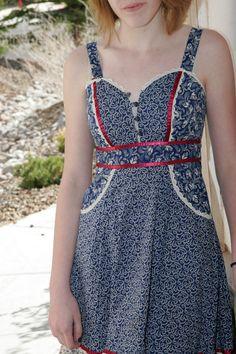 Gunne Sax by Jessica size 5 sun dress blue by doodaheveryday