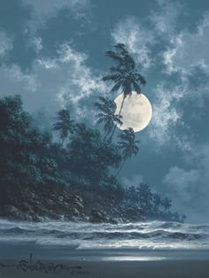 "Roy Gonzalez Tabora (Hawaiian painter, b. 1956) - ""A Little bit of midnight"""