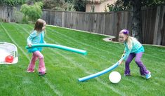 Inside Out field hockey (need pool noodles, laundry basket, plastic balls)