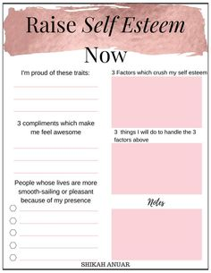 'Raise Your Self-Esteem' printable to pull your self-esteem up during stressful times or when someone criticises you. Source by whatnicolewore ideas for teens