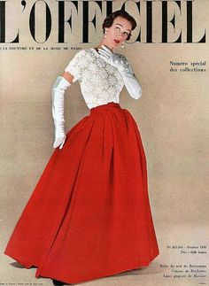 1950 - Sophie Malgat in Balenciaga's velvet and lace evening gown, L'Officiel, Oct. 1950