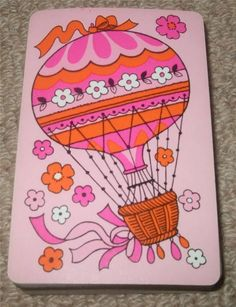 HOT AIR BALLOON - 1960's VINTAGE PACK OF PLAYING CARDS - PINK | eBay