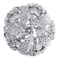 1950s Bulgari GIA Cert Diamond Platinum Brooch   From a unique collection of vintage brooches at https://www.1stdibs.com/jewelry/brooches/brooches/