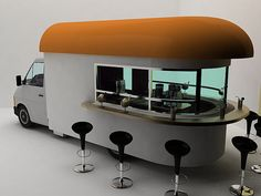 Mobile Coffee Shop - Just add some stools to a food truck with windows and you are all set with something extraordinary.