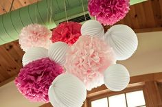 Good idea to pair the pom poms with paper lanterns! by linfirefly