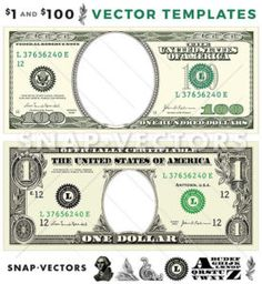 Vector 1 Dollar Template And 100 Set Bill
