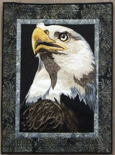 """Bald Eagle"" by Kelly Savignano.  First Place, miniature quilt.  2014 quilt show, Quinobequin Quilters (Massachusetts)"